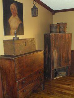 mule chest and primitive cupboard