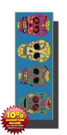 skulls, parad peyot, sugar skull, seed beads, peyot pattern