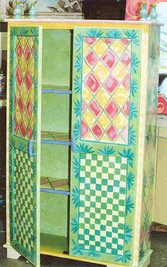Green Checkerboard Armoire