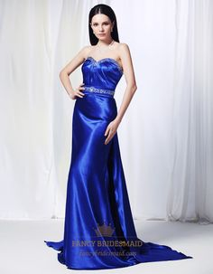 Sapphire Blue Long Prom Dress, Charmeuse Dress With Beaded Spray Back, Strapless Charmeuse Gown With Beaded Applique, Beaded Charmeuse Prom ...