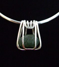Sterling Caged Beach Glass Pendant by SignetureLine on Etsy