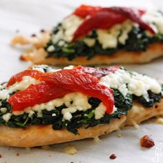 Chicken with mozzarella, spinach and roasted peppers