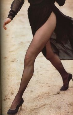 . vogue, long legs, herb ritts, yves saint laurent, herbs, femme fatale, kim basing, black, haute couture