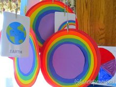 Rainbow Circles & activity using colored pudding to mix colors.