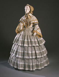 fripperiesandfobs:  Day dress ca. 1855 From the Philadelphia...