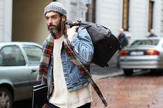 punktse beanie jeans denim jacket sweater beard tumblr