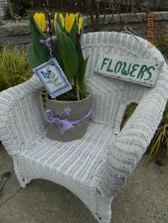 Fabric- wrapped grocery store tulips makeover. Watch my Tulips at my Window Plant Stand Video for more.. Screendoorgirl 3