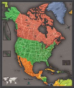 Wall Map of North America by OutlookMaps from Maps.com. If you need an atlas, map or globe Maps.com can help. We are the World's Largest Map Store! #Maps.com