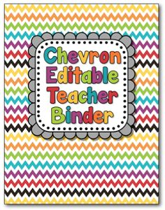 Editable, chevron teacher binder! Get organized this year!
