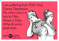 I'LL BE CURED IN A FEW DAYS!! I am suffering from PDD: Post Disney Depression. My only cure is a trip to Main Street, a Dole Whip & some pixie dust...
