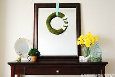 spring live, living rooms, moss wreath, mantel, spring decor, framed mirrors, spring wreaths, live room, room makeovers