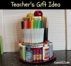 Teacher's Gift Idea!  I have to remember this one for next year!  #teachers #Crafts #Homemade #school #kids gift cake, teacher gifts, gift ideas, teacher year, diy gift, teacher suppli, teacher cake gifts, end of year teachers gift, teacher ideas gifts