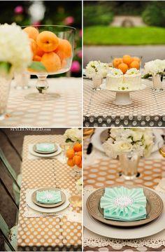 Cute square doilies, unique place cards. | Peach and Mint Wedding