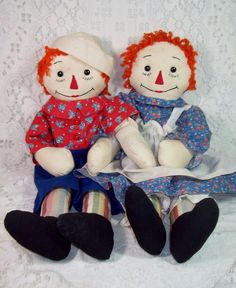 Adorable Pair of Homemade Raggedy Ann & Andy Dolls