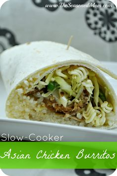 Slow Cooker Asian Chicken Burritos on MyRecipeMagic.com: salty, sweet, crunchy, and fresh!  Such a perfect, easy, weeknight meal!