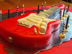 The Creative Cake Maker: Rock 'N Roll Electric Guitar Birthday Cake