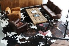 Love the rugged wood and leather at Diesel's world headquarters