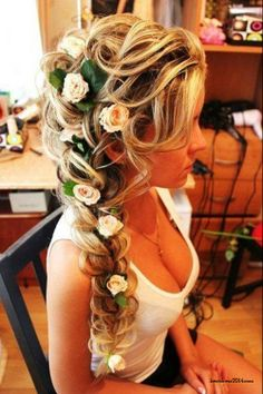 Wedding hair--- without the weird flowers of course...
