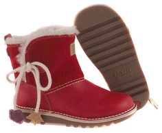 Girls KICKERS Red Leather/Suede Winter Boots