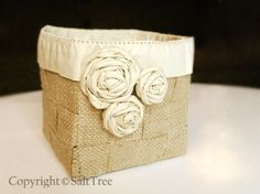 Woven basket with folded flowers tutorial