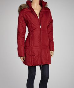 Take a look at this Deep Red Down Long Coat - Women by Fleet Street on #zulily today!