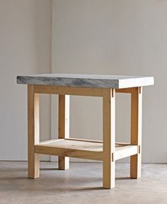 """Prep Table, white oak base with shelf for storage 2"""" thick hand polished marble top"""