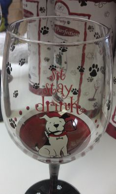 "Wine glasses. ""Sit stay drink"", ""Fetch me my wine"" and A taste of purrfection"" for our feline friends! These make great gifts for any wine/canine/feline lover!"
