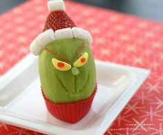 another lunch: cute Christmas snack: How the Grinch became a Kiwi