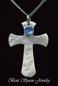 Spoon Jewelry Swarovski Crystal Cross Necklace by Bentspoonjewelry, $19.00