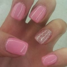 shellac nails, I like this. Ring finger glittery to set off engagement ring other fingers painted to match wedding color theme.