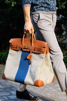 Hermès S/S 2013 men Birkin. Best Bag EVER for a guy. The racing stripe does me in!