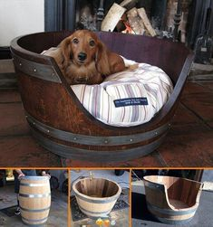 cat beds, diy crafts, doggie beds, whiskey barrels, pet stuff, pet beds, dog beds, craft ideas, diy projects