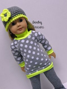 American Girl doll clothes, 18 inch doll clothes, gray w/white dots sweater, gray leggings***, and crocheted gray w/neon yellow flower hat