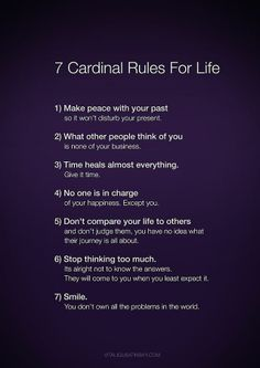 7 cardinal rules in life poster | Cardinal Rules For Life | Words
