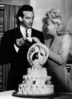 cake, harri jame, betty grable, vintage weddings, betti grabl, bride, celebr coupl, 40s, 1943