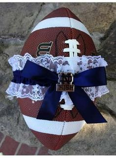 L-4-Love Blog: give them something they'll actually want to catch! #garter #football #footballtheme #footballwedding #wedding #gartertoss #footballgarter