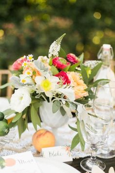 Peach centerpiece in