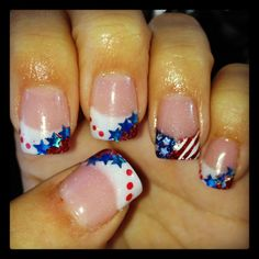 Red, white, and blue, patriotic, flag acrylic nails