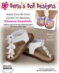 Dena Doll Designs Flower Sandals Pattern for Dolls