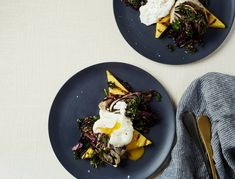 Grilled Polenta and Radicchio with a Poached Egg