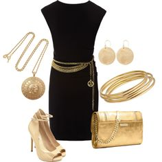 """""""LBD  Gold accessories"""" by shebremer on Polyvore"""