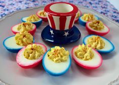 Holiday dyed devilled eggs  To dye eggs: place eggs in a container and cover with water. You will need 20 drops of food coloring per 1/2 cup of water. Measure water that you pour over peeled hard boiled eggs and add the appropriate amount of food coloring. Allow to sit in food coloring mixture for 2 hours. Remove from food coloring and dry off.
