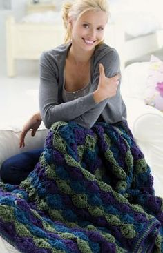 Twilight Shells Throw Free Crochet Pattern from Red Heart Yarns