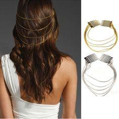 Boho Punk Womens Chic 2 Combs Chains Tassels Fringes Hair Cuff Pin Head Band Hot | eBay