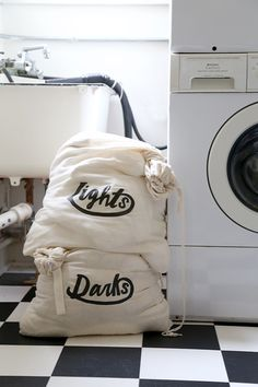 DIY printable laundry bag designs from Say Yes blog. We wish were so organized!
