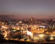 Jerusalem: looking over the walls of the old city at night...