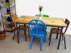 upcycl vintag, vintag industri, dine room, dine tabl, shops, wooden tabl, vintage industrial, dining tables, industri dine