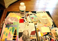 A gluebook is simply a notebook or journal that you glue magazine and junk mail clippings in
