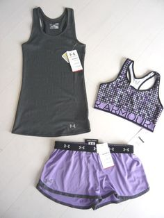 New Under Armour Womens Shorts DFO Nutech Tank Top Bra Bra Top Set Size L   eBay