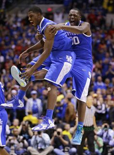 Alex Poythress and Julius Randle celebrate win over Louisville. 3-28-14.  | Basketball: Men | Kentucky.com